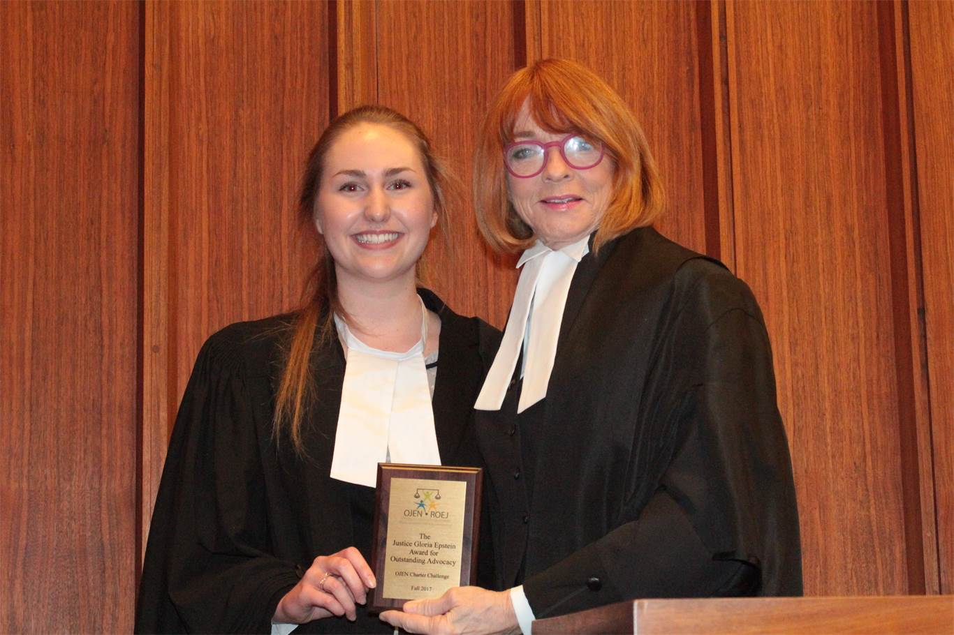 STM student Madalyn Morrison was awarded the Justice Epstein Award for Oral Advocacy.