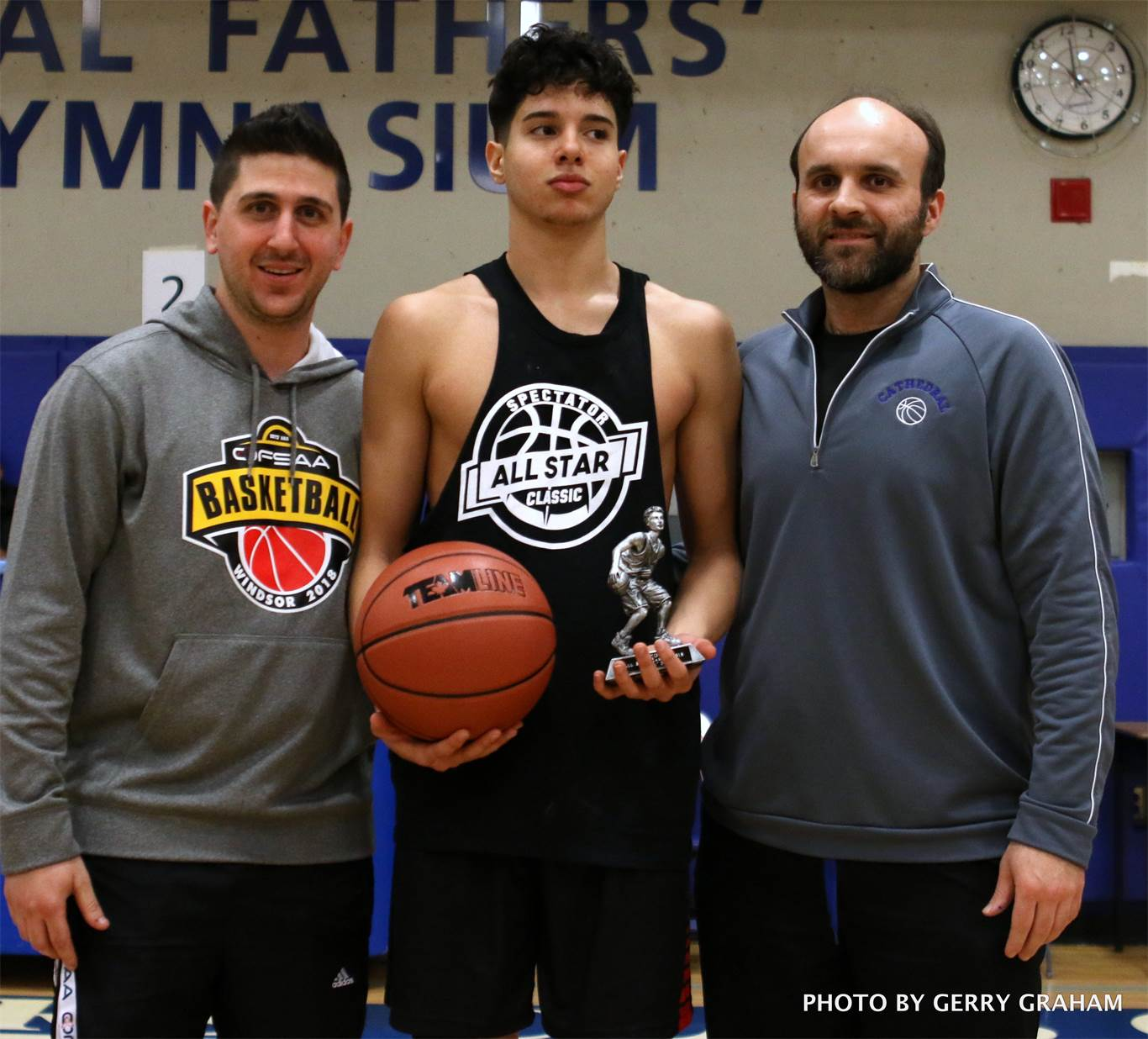 Diar Alkaldy, who represented the St. Thomas More Knights, was selected the contest's Most Valuable Player. From left to right, Jae Dunphy, Alkaldy, Mario Susi. Photo by Gerry Graham,