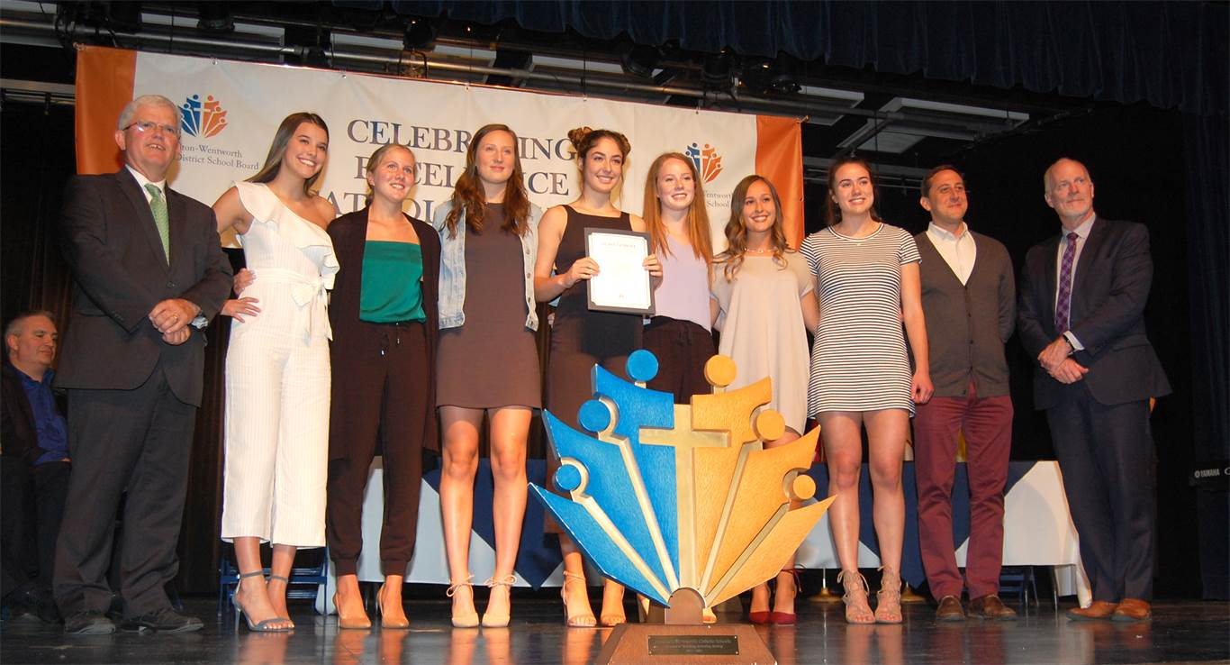 The St. Mary Senior Girls' Volleyball Team was recognized at the HWCDSB's awards celebration on June 5 for bringing home an OFSAA gold medal.