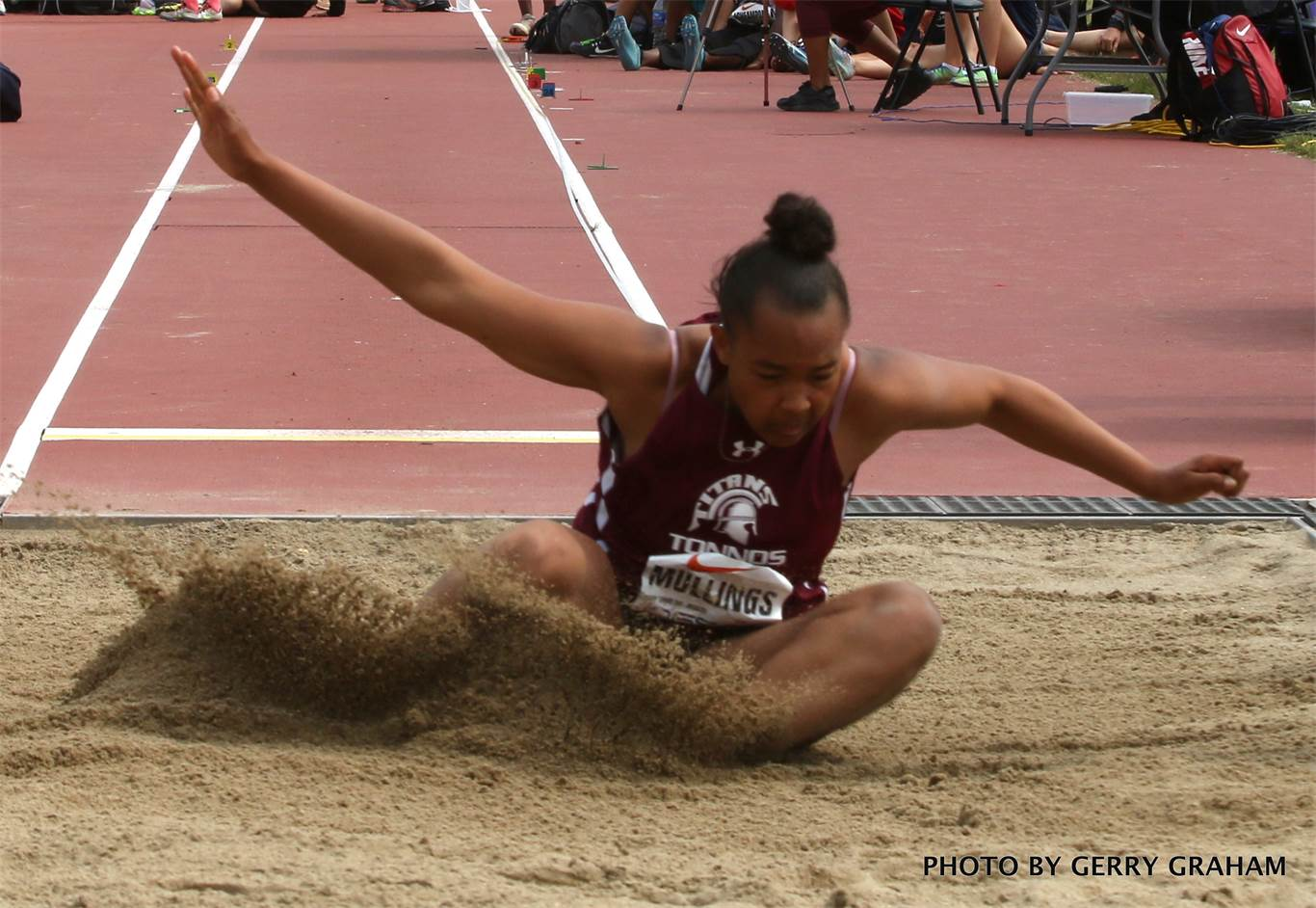 Jaden Mullings of Bishop Tonnos wins a gold medal in the midget girls' long jump Thursday with a best leap of 5.24 metres. Photo by Gerry Graham.
