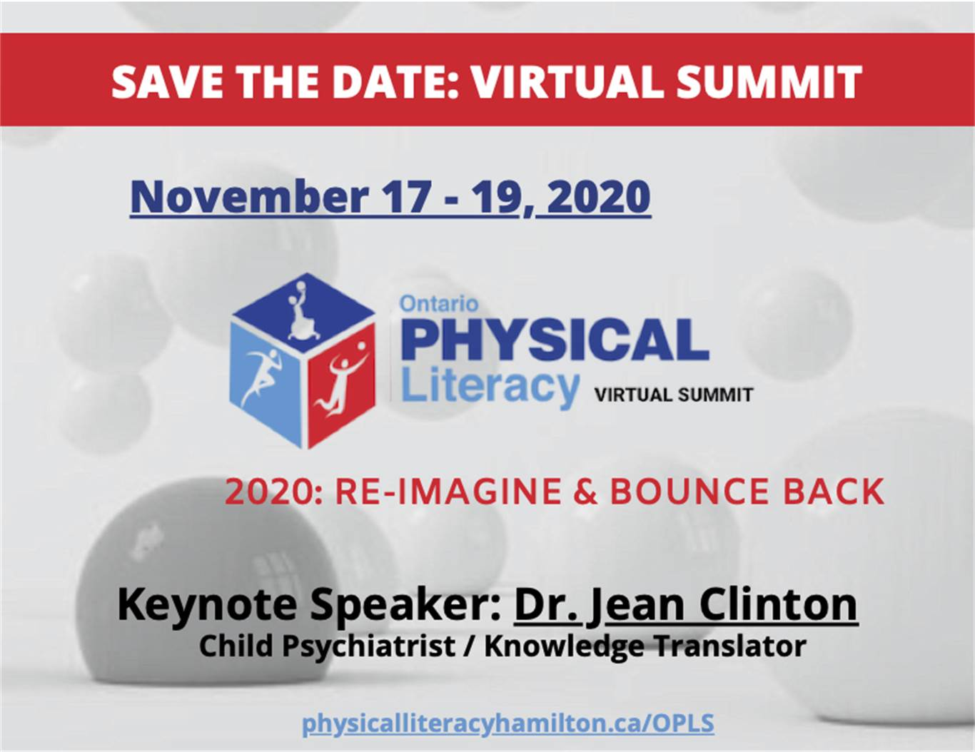 "Ontario Physical Literacy Summit 2020 – ""Re-Imagine and Bounce Back"""