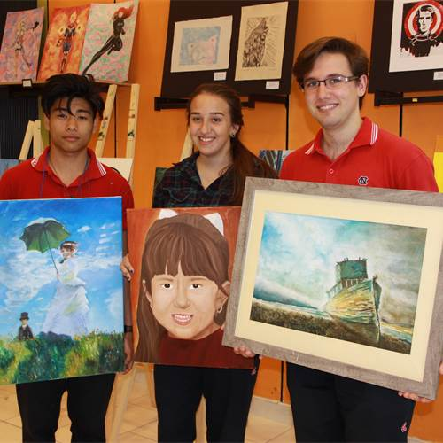 Cardinal Newman students. From left: Oliver Santos, Alyssa Lourenco and Julian Mahovlich
